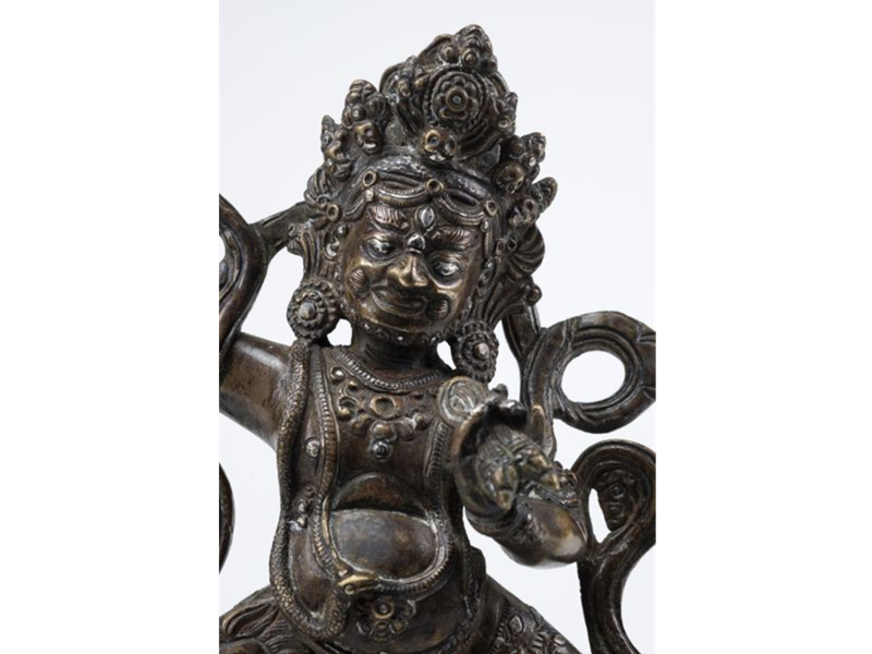 RARE SILVER AND COPPER INLAID BRONZE OF VAJRAPANI. SINO - TIBET, END OF 18TH CENTURY